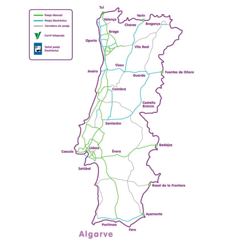 mapa peajes portugal