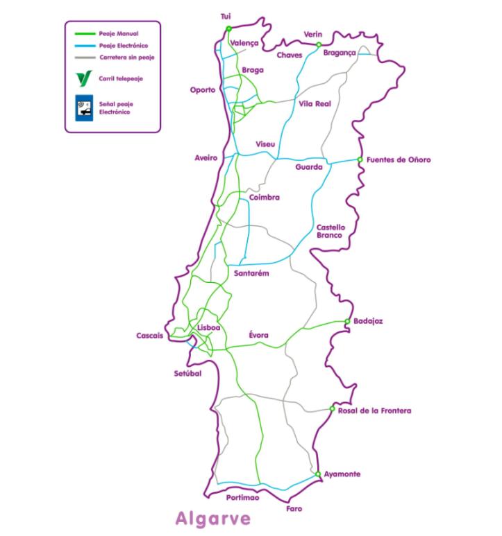 mapa peajes autopista portugal